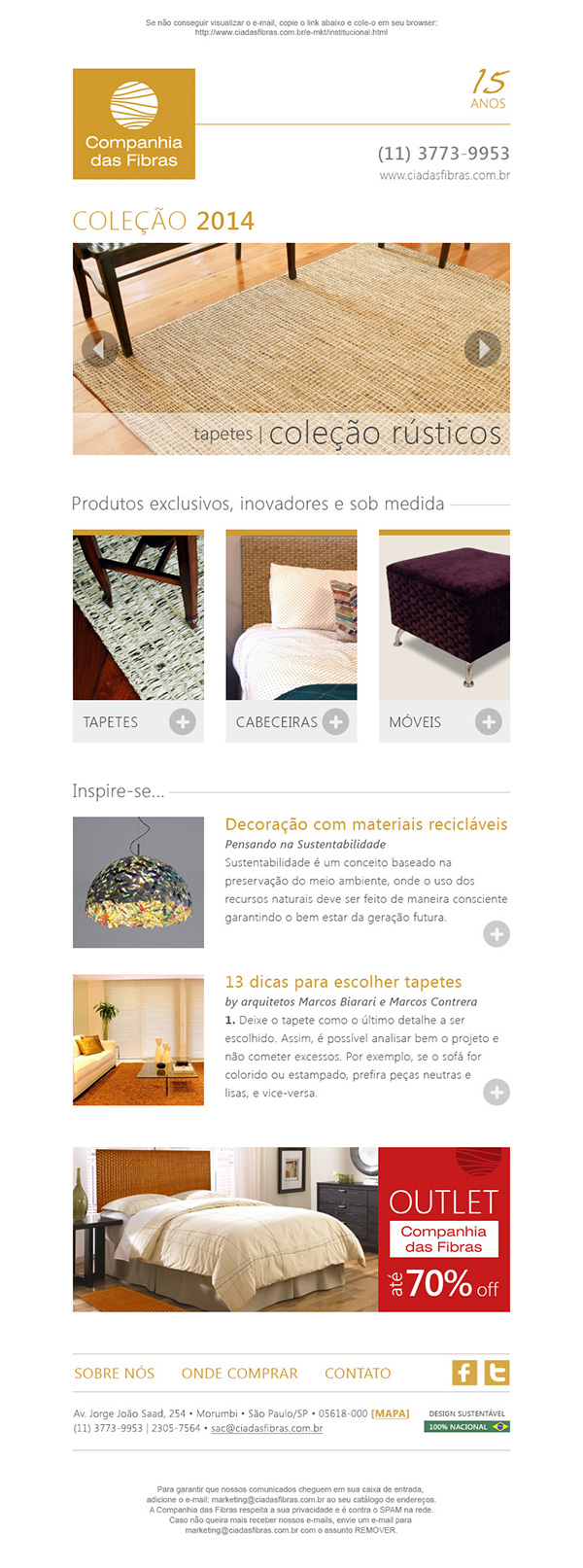E-mail marketing/newsletter – Companhia das Fibras | Web Design