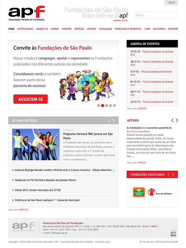 Website APF - Associação Paulista de Fundações | Web Design
