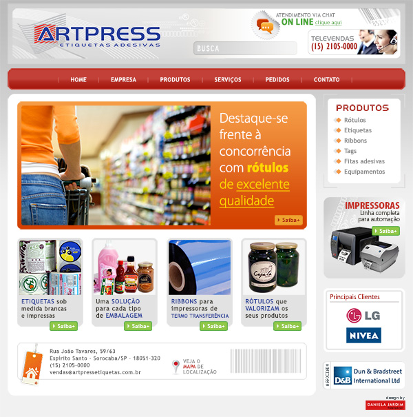 Website Artpress Etiquetas Adesivas | Web Design