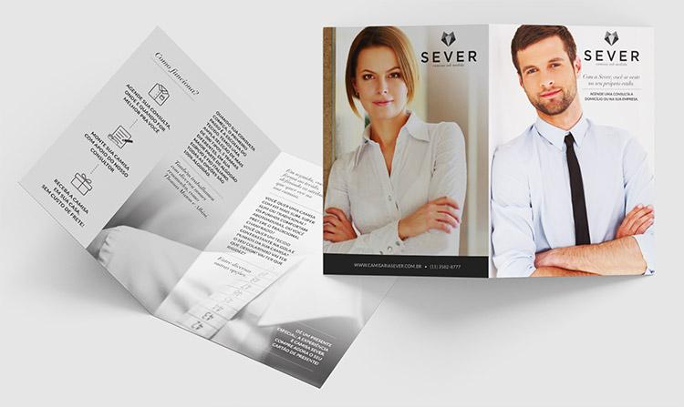 Folder frente e verso | Camisaria Sever | Design Gráfico
