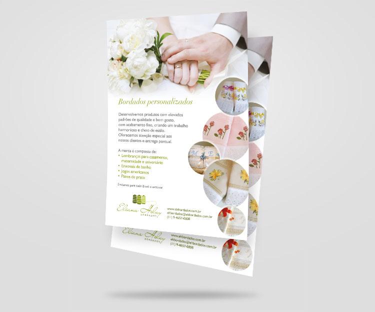 Folheto frente | Eliana Heluy Bordados | Design Gráfico