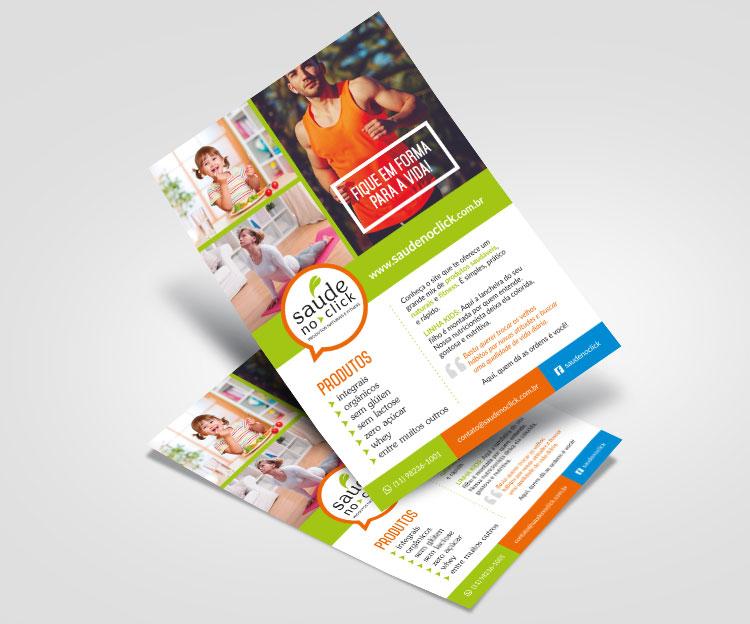 Folheto frente | Saúde no Click | Design Gráfico