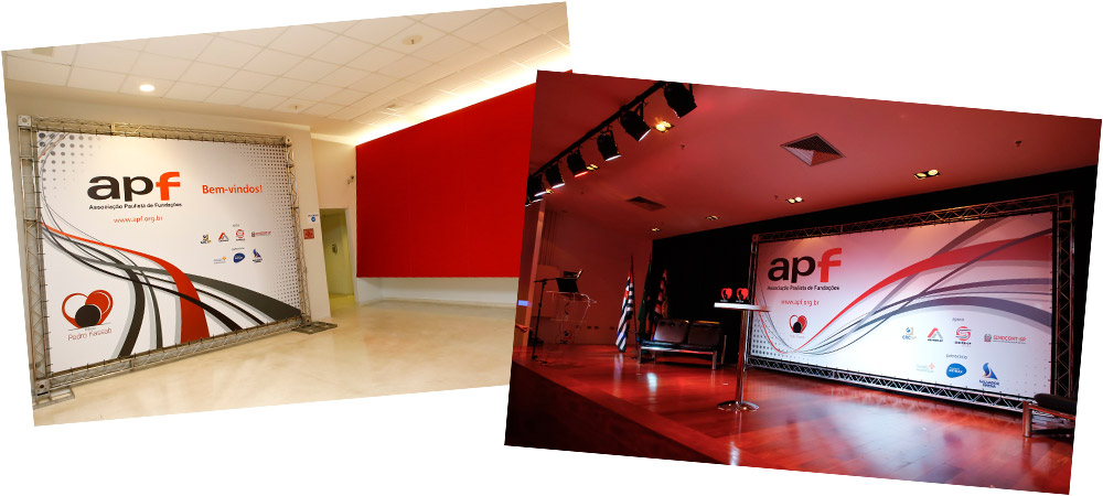 Banner e painel de palco para APF - Associação Paulista de Fundações | Design Gráfico