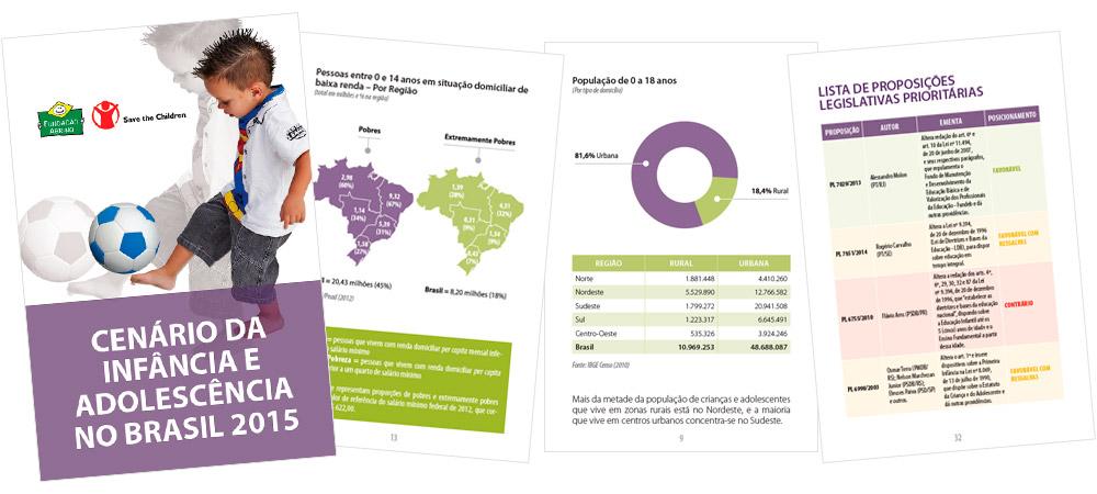 Diagramação: Cenário da Infância e Adolescência no Brasil 2015 - Fundação Abrinq